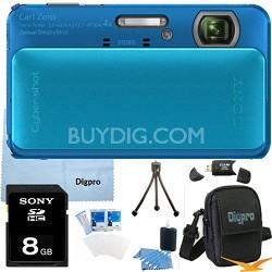 Cyber-shot DSC-TX20 16.2 MP Waterproof Shockproof Camera (Blue) 8GB Bundle