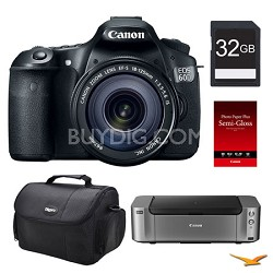 EOS 60D DSLR Camera 18-135mm Lens, 32GB, Printer Bundle