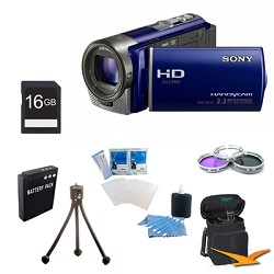 HDR-CX130 Handycam Full HD Blue Camcorder w/ 30x Optical Zoom Ultimate Bundle