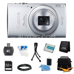 PowerShot ELPH 340 HS 16MP 12x Zoom 3-inch LCD Silver Ultimate Kit