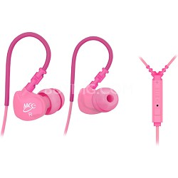 M6P Sports In-Ear Headphones with Universal Inline Mic, Remote, & Volume (Pink)