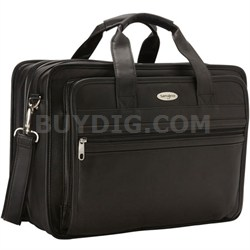 Leather Expandable Computer Briefcase - Black