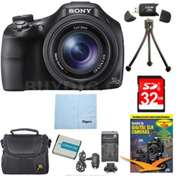 DSC-HX400V/B 50x Optiical Zoom 4K Stills Digital Camera 32GB Kit