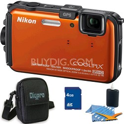 COOLPIX AW100 16MP Waterproof Shockproof Freezeproof Orange Camera 4GB Bundle