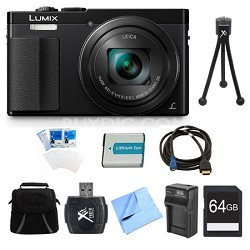 LUMIX ZS50 30X Travel Zoom Black Digital Camera 64GB Bundle