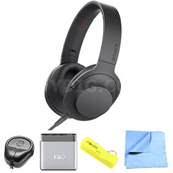 Premium Hi-Res On-Ear Stereo Headphone Black - MDR100AAP/B w/ FiiO A1 Amp Bundle