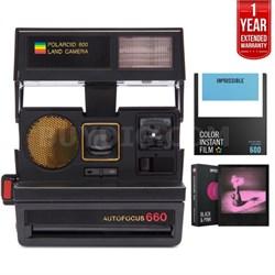 Polaroid 660 AF Camera w/ Auto Flash & Lens Black + Extended Warranty