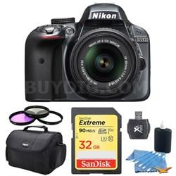 D3300 DSLR 24.2 MP HD 1080p Camera & 18-55mm Lens (Grey) 32GB Lexar Card Bundle