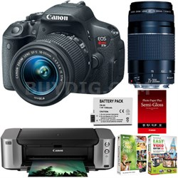 EOS T5i 18MP DSLR w/ 18-55 STM & 75-300 Lens Plus Printer, Paper