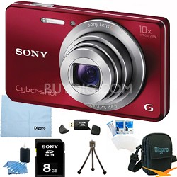 Cyber-shot DSC-W690 16MP 10X Zoom 720p Video Digital Camera (Red) 8GB Bundle