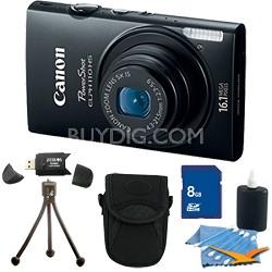 PowerShot ELPH 110 HS 16.1MP Black Digital Camera 5x Zoom HD Video 8 GB Bundle