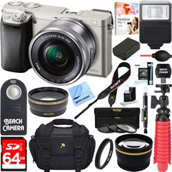 Alpha a6000 Slver Interchangeable Lens Camera 16-50mm Power Lens + 64GB Kit