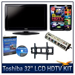 "32"" 720p LCD HDTV + Hook-up Kit + Power Protection + Calibration + Tilt Mount"