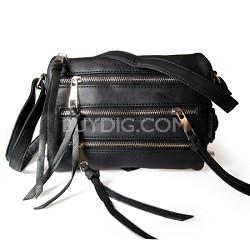 3 Zipper Detail PU Messnger Bag with Chain Strap (Black) - 3004BLK