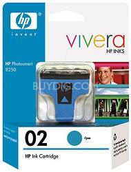 HP 02 Cyan Ink Cartridge with Vivera Ink