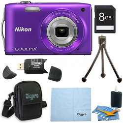 COOLPIX S3300 16MP 6x Opt Zoom 2.7 LCD 8GB Purple Bundle