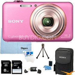 "DSC-WX70/P - 16.2MP Exmor R CMOS Camera 3.0"" LCD 5x Zoom (Pink) 8GB Bundle"