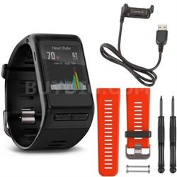 vivoactive HR GPS Smartwatch - X-Large Fit (Black) Lava Red Band Deluxe Bundle