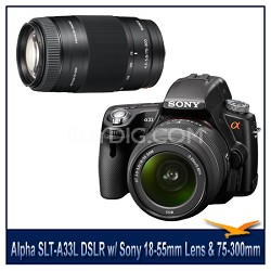 Alpha SLT-A33L 14.2 MP DSLR Kit w/ Sony 18-55mm Lens & 75-300mm f/4.5-5.6 Lens