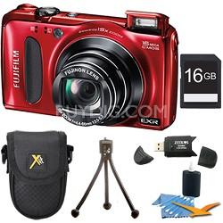Finepix F660EXR 16.0 MP CMOS 1080P HD Digital Camera (Red) 16 GB Memory Bundle