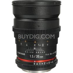 "35mm T1.5 ""Cine"" Wide-Angle Lens for Sony A VDSLR"