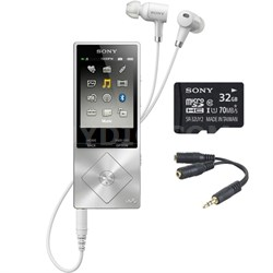 64GB Hi-Res Walkman Digital Music Player - Silver w/ 32GB Memory Card Bundle