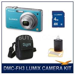 DMC-FH3A LUMIX 14.1 MP Digital Camera (Blue), 4GB SD Card, and Camera Case