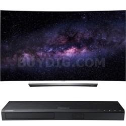 "OLED65C6P 65"" Curved 4K OLED 3D Smart TV w/ UBD-K8500 3D 4K UHD Blu-ray Player"