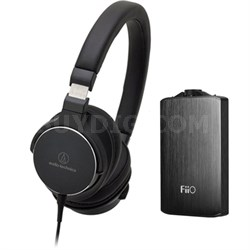 SR5 On-Ear High-Resolution Headphones w/ FiiO A3 Headphone Amplifier, Black
