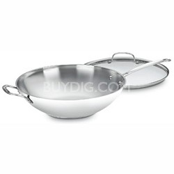 """726-38H Chef's Classic Stainless 14"""" Stir-Fry Pan w/ Helper Handle & Glass Cover"""