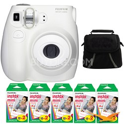 Instax MINI 7s White Instant Film Camera Kit with Case and 5pk of Film