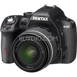K-50 Black w/ 18-55mm Lens 16MP Digital SLR Camera Kit - OPEN BOX