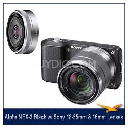 Alpha NEX-3 Interchangeable Lens Black Camera w/18-55mm & 16mm f/2.8 Lenses