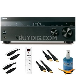 7.2ch 1050W A/V Receiver Wi-Fi Bluetooth Airplay Plus Hook-Up Bundle - STR-DN850