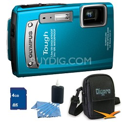 4GB Kit Tough TG-320 14 MP Waterproof Shockproof Freezeproof Digital Camera - Bl