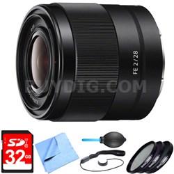 SEL28F20 - FE 28mm F2 E-mount Full Frame Prime Lens Bundle