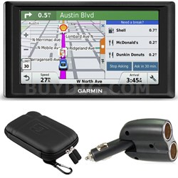 Drive 50 GPS Navigator (US) 010-01532-0D Soft Case + Car Charger Bundle