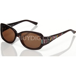 Women's Sunglasses: Brown Frame, Brown Lens W/ Multi Color Stripe A
