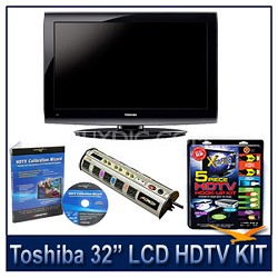 "32C100U 32"" 720p LCD HDTV + Hook-Up + Power Protection + Calibration DVD"