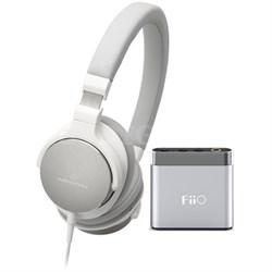 SR5 On-Ear High-Resolution Headphones w/ FiiO A1 Headphone Amplifier, White