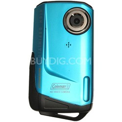 1080p HD 8MP 3X Zoom 2.0 Inch LCD Waterproof Pocket Video Camera - Blue