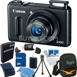 PowerShot S100 Black Digital Camera 16GB Bundle