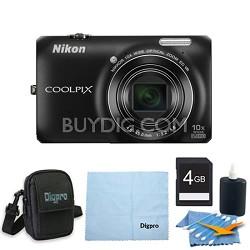 COOLPIX S6300 16MP 10x Opt Zoom 2.7 LCD Digital Camera 4GB Black Kit