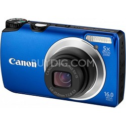 PowerShot A3300 IS 16MP Blue Digital Camera w/ 720p HD Video