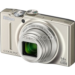 COOLPIX S8200 Silver 14x Zoom 16MP Digital Camera - OPEN BOX