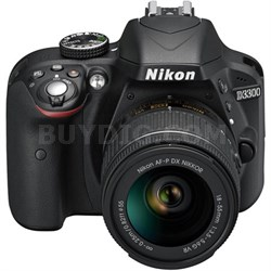 D3300 DSLR 24.2 MP HD 1080p Camera with 18-55mm AF-P VR Zoom Lens - Black