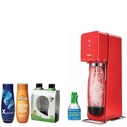 Source Home Soda Maker Starter Kit, Red with Soda Maker Bundle