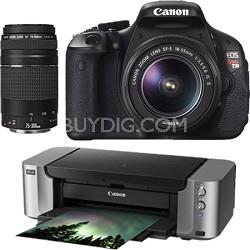 EOS Rebel T3i Digital Camera w/ EF-S 18-55 IS + 75-300 Lenses + Pro-100 Printer