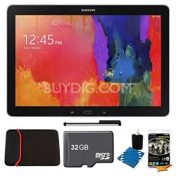 """Galaxy Note Pro 12.2"""" Black 32GB Tablet, 32GB Card, Headphones, and Case Bundle"""