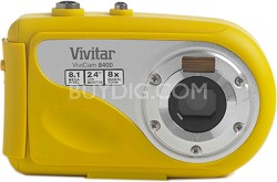 "Vivicam V8400 Underwater Digital Camera - 8MP 2.4"" Touchscreen, 8x Zoom (Yellow)"